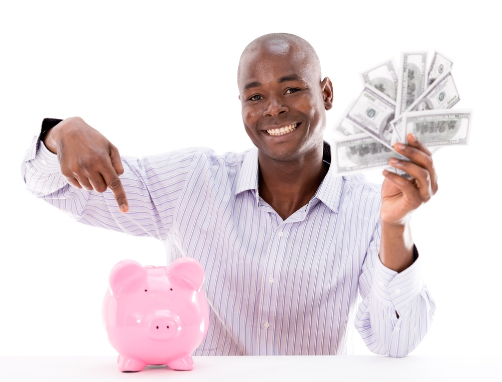Happy man saving tax refund for retirement