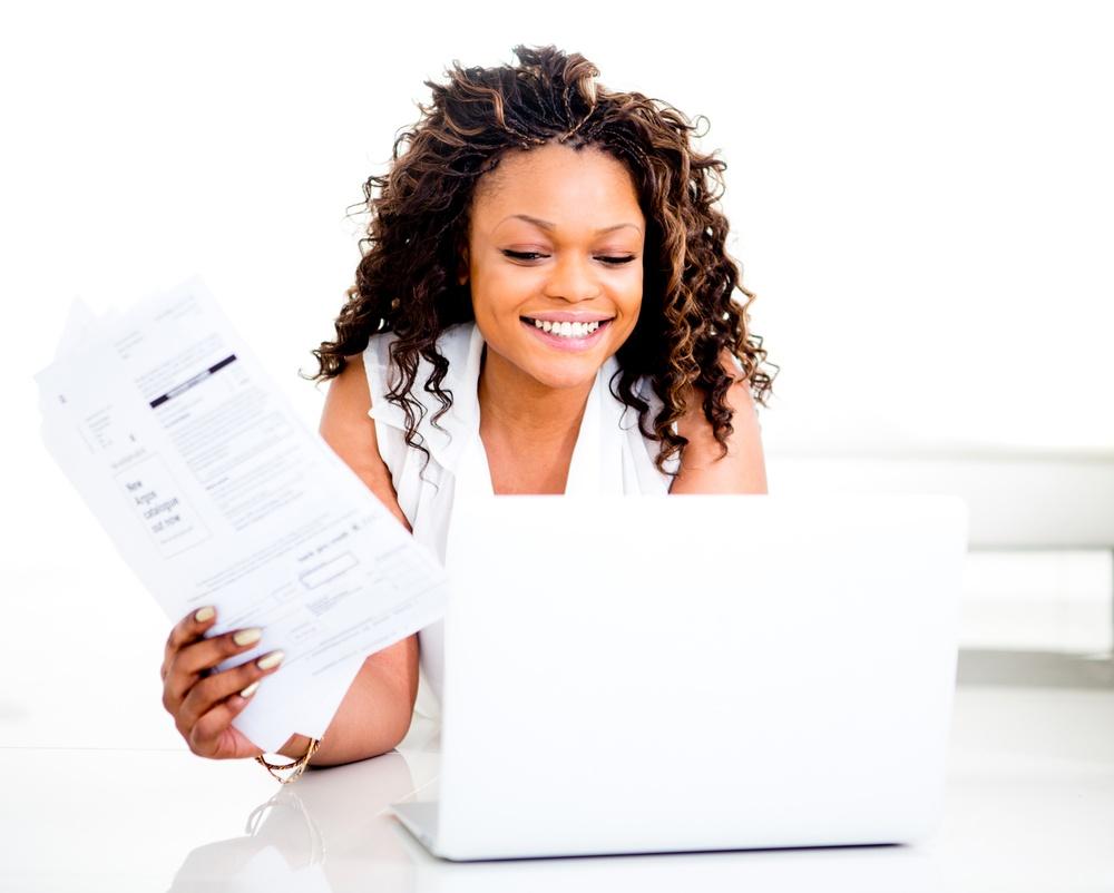 Woman using budgeting software