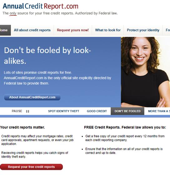 Annual Credit Report website