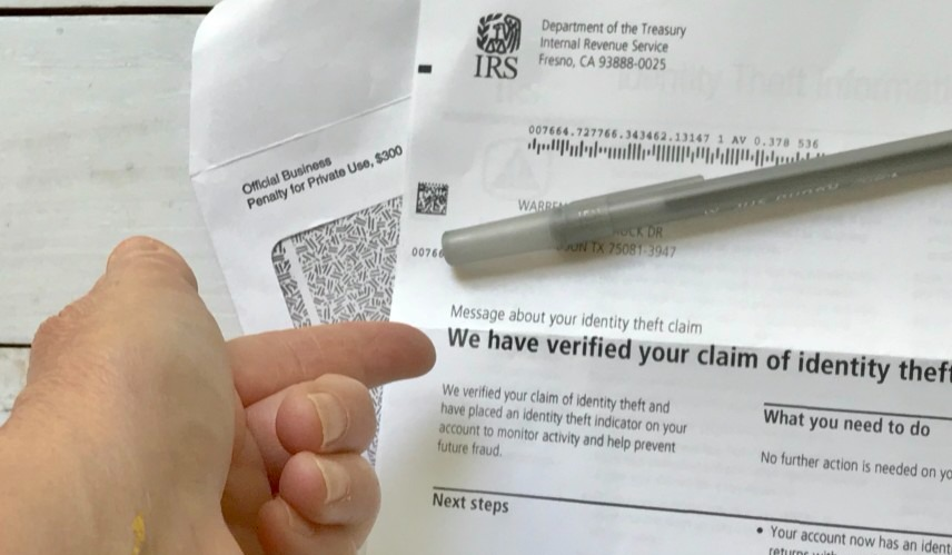 Identity theft letter